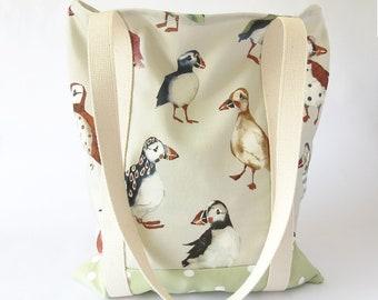Shopping Bag Handmade, Puffin Bag, Shopping Tote Bag, Tote Bag Handmade, Shopping Bag Reusable, Beach Bag Fabric, Market Bag Handmade
