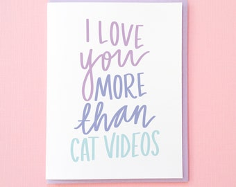 Cat Card. Funny Love Card. Card for Boyfriend. Card for Girlfriend. Best Friend Card. Love You Card. Funny Anniversary Card. Wife Card