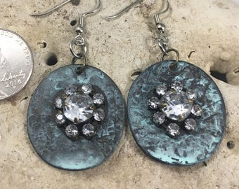 Earrings. Handmade oval tarnished teal and diamond dangle earrings (883)