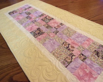 Quilted  Patchwork Table Runner, Spring Table Runner, Quilted Table Topper, Handmade, Dinning Table Decor, Topper,