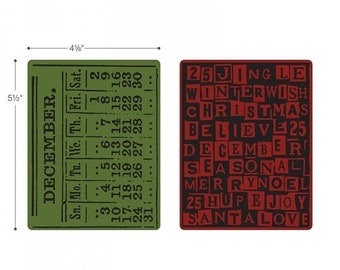 Mothers Day Special: Sizzix Texture Embossing Folders 2PK - December Calendar & Holiday Words Set