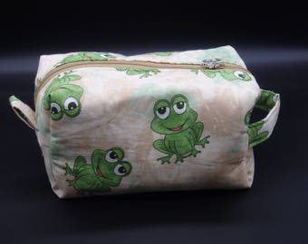 Happy Frogs Bag, Frog Pouch, Toy Bag, Travel Pouch, Gadget Bag, Ditty Bag, Toiletry Kit, Pencil Case, Cosmetics Pouch