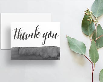 Watercolor Calligraphy Thank You Cards / Dark Charcoal Gray Watercolor / Thank You Notes / Printed Folded Thank You Cards
