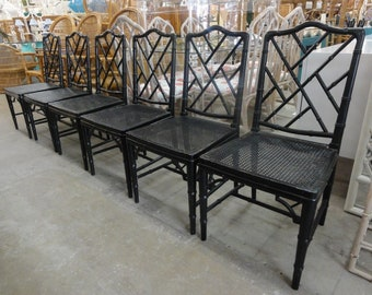6 Faux Bamboo Chippendale Side Chairs
