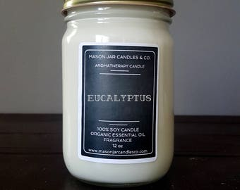 Eucalyptus Candle, Earthy Candle, Nature Candle, Essential Oil Candle, Mason Jar Candle, Soy Candle, Scented Candle, Vegan Candle