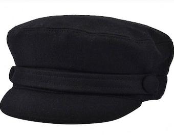 G&H Wool Fiddler Caps, Greek fisherman hat- Black baker boy style
