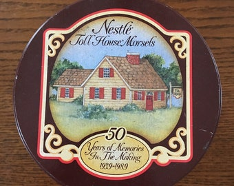 Nestle Toll House Cookie Tin 50 Years of Memories in the Making, Vintage Cookie Canister Container Round Tin