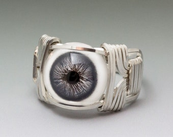 Slate Blue Glass Eye Eyeball Sterling Silver Wire Wrapped Ring - Made to Order and Ships Fast!