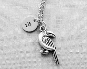 Toucan Necklace Bird Forest Animal Silver Jewelry BFF Friend Birthday Gift Silver Jewelry Personalized Monogram Hand Stamped Letter Initial