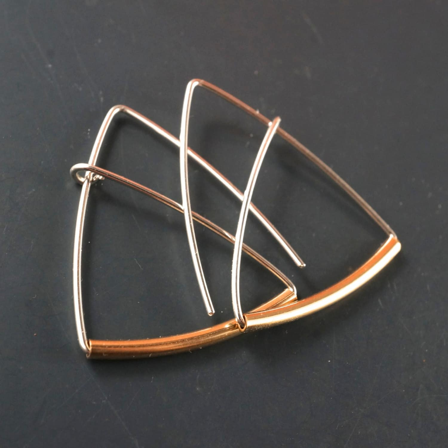 Triangle Hoop Triangle Earrings Sterling Silver Gold