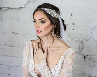 Silver Bridal Headpiece / Bridal Headband for the Bride / Swarovski Wedding Tiara Bridal Hair Piece with Something Blue  Crystal Headband