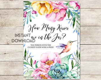 How Many Kisses Bridal Shower Game, Guess Who Many Kisses, Bridal Shower, Floral Bridal Shower, Hummingbird, Watercolor, Printable No. 1032
