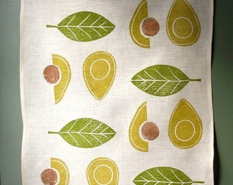 Avocado linen tea towel hand block printed modern botanical kitchen home decor