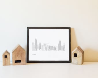 Chicago skyline, downtown Chicago, IL, Chicago Illinois, city of chicago, map, windy city, chicago wall decor, gift ideas, cityscape, poster