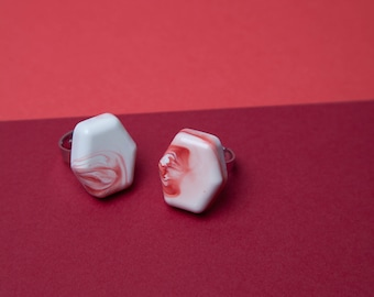 Red and White Adjustable Resin Rings