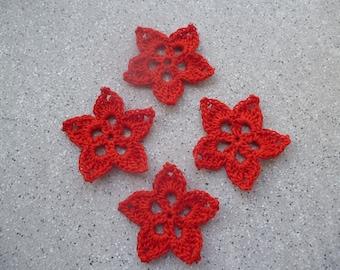 4 red cotton handmade crochet flowers