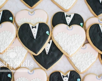 Wedding Sugar Cookies, Bride and Groom Heart Cookies, 1 Dozen, Wedding Shower Cookies, bridal shower cookies, Favors, Tuxedo and dress