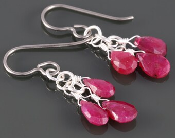Ruby Cluster Earrings. Three Stones. Titanium Ear Wires. Genuine Gemstone. July Birthstone. f16e218