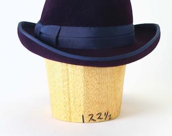 Aubergine Dark Purple Navy velour fur felt fedora winter men's hat, wide navy grosgrain ribbon, tailored bow Millinery/Men Fedora/Men's Hat