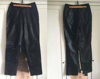 Leather Black Pants High Waist Vintage Warehouse Men's Women's Motorcycle Pants
