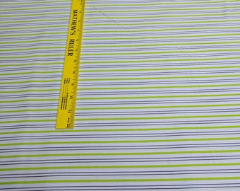 Citrus-Green and Black Striped Cotton Fabric from Windham Fabrics