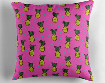 Decorative pillow cover- fun and cute pineapples design- pink and yellow- dorm room decor- teen room decor- trendy pineapple design