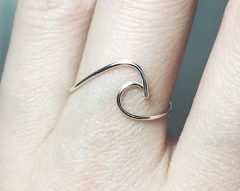 Sterling Silver Wave Ring/gold filled/surf/ocean wave ring/ocean ring/silver wave ring/gold wave ring/surfer/wire wave ring/beach jewelry