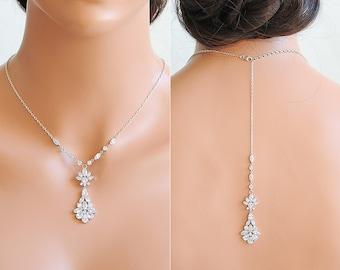 Bridal Backdrop Necklace, Wedding Necklace, Crystal Back Drop Necklace, Y Drop Necklace, Back Necklace, Art Deco Wedding Jewelry, YASMINE