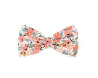 Peach Floral Pet Bow Tie - Detachable Dog or Cat Collar Bow Tie - Pink, Coral, Cream and Mint Rose Dog Wedding Bow