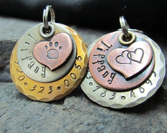 Dog tag - Pet tag - Pet Id Tag- Accessories- Copper Nickel/Silver Brass with Copper Heart- Hand stamped Engraved Personalized