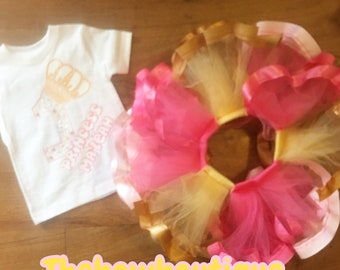 birthday princess ribbon trimmed tutu set