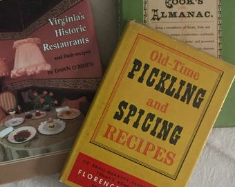 """Set of three Vintage cookbooks featuring recipes favored by """"country housewives for over a century."""""""
