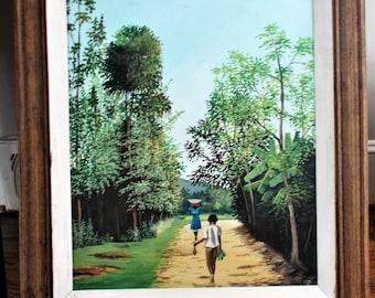 Large Oil Painting Vintage Folk Art Tropical Art Island Decor British Colonial Art Large Wall Art African American Art Coastal Decor Beach