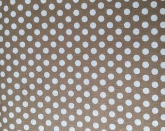 Taupe Dot Fabric - Michael Miller Dirt Kiss Dot Fabric - Tan and White Polka Dot Material