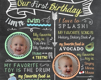 Printable Twins Firsts Birthday Invitation - Chalkboard Look 5 x 7 Print - Custom Colors - Choose with or without picture - Examples shown