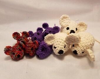 Crochet catnip toys, crochet catnip mouse, catnip amigurimi mouse, set of 3 catnip mice toys, crochet catnip mice, cat toys with catnip
