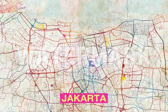 Jakarta Map Original Art Print City Street Map of Jakarta