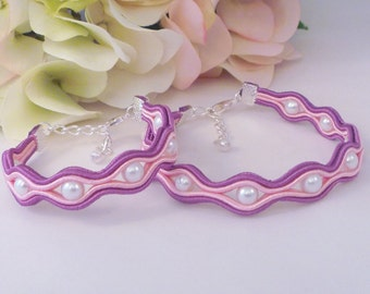 Mother daughter bracelet set. Soutache bracelet. Beaded jewellery. MollyG Designs. Mom daughter bracelets