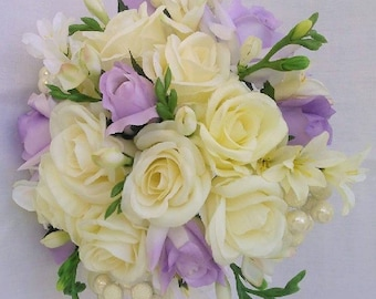 Lavender, Wedding, Bride, Bouquet, Roses, Cream, Ivory, Pearls, Freesia, Silk, Flowers, Choose your ribbon color.