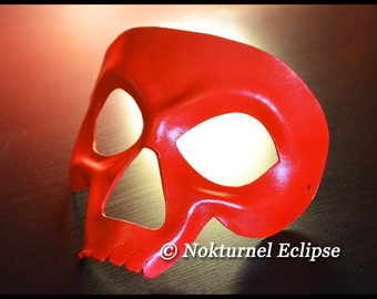 Red Skull Leather Mask Skeletor HeMan Comic Con Cosplay Horror Masquerade Halloween Fetish Costume UNISEX  -  Available In Any Basic Color