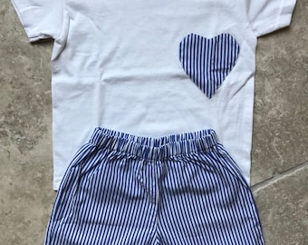 Blue stripes summer pajama for girls