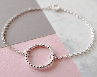 Silver Circle Bubble Bracelet - Contemporary Bracelet- Modern Bracelet - Delicate Bracelet- Gift for Her - Bridal Bracelet - Bridesmaid Gift