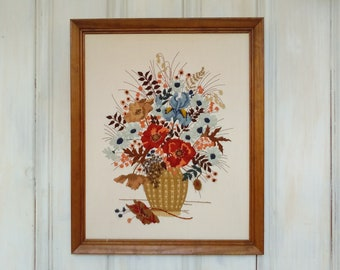 Framed Embroidery Bouquet/Autumn Colors/Beautiful/Finely Crafted/Poppies Iris Larkspur Daisies/Many Stitches/Brown Beige/lindafrenchgallery