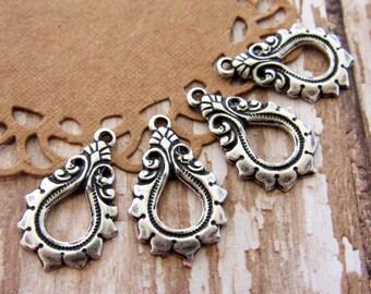 Antiqued Silver Ox Art Nouveau Teardrop Flourish Earring Dangles Drops Charms – 4