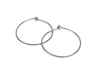 Niobium Hoop Earrings Large Silver Color Niobium Hoops, Nickel Fee Earrings, Hypoallergenic Hoops for Sensitive Ears, Niobium Jewelry