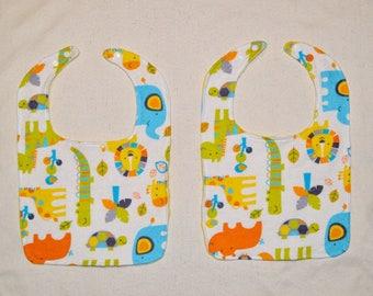 Minky Bib Set (2) - Bright Animals Flannel / Yellow Minky