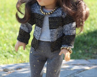 "18"" Doll Striped Sweater, Gray Top and Gray Leggings to Fit Like American Girl Doll Clothes, 18"" Doll Clothes, AG Doll Outfit, 18"" Girl Doll"