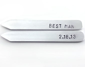 custom wedding party gifts, bachelor party favors, best man gift, metal collar stays
