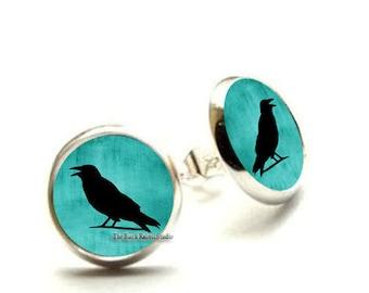 Crow earrings, Crow on Turquoise Blue, Crow Jewelry, Blackbird, Raven,Jewellery, Bird, Gift, Picture, Art, Print, Hypoallergenic Earrings