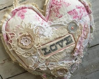 Shabby Tattered Heart/ Stuffed Heart/ Valentine / hanging heart/ fabric heart/ vintage style